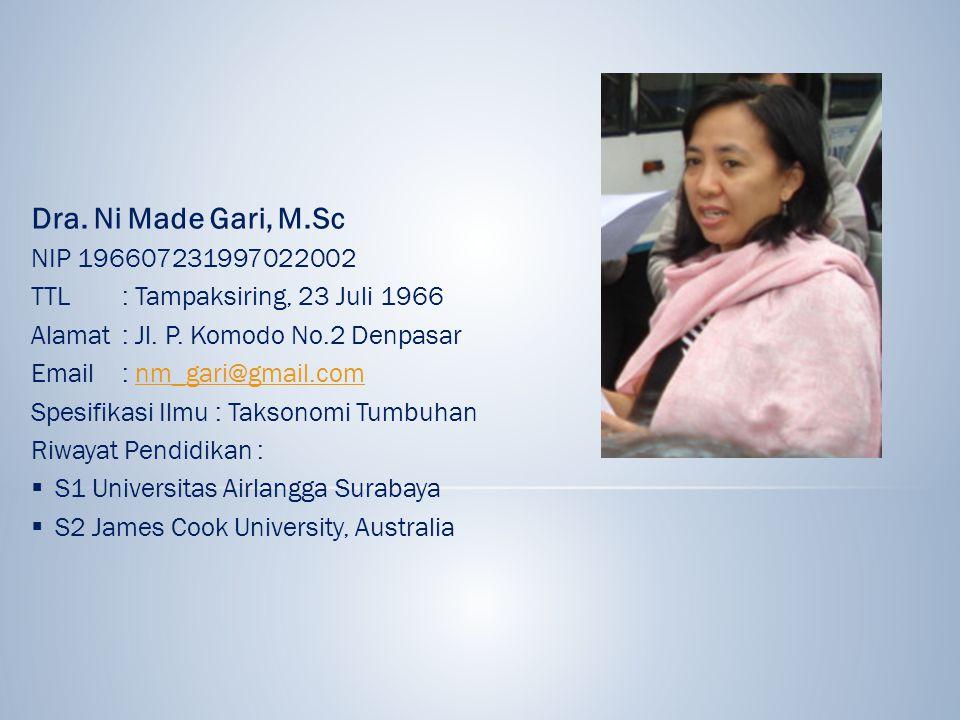 Dra. Ni Made Gari, M.Sc NIP 196607231997022002. TTL : Tampaksiring, 23 Juli 1966. Alamat : Jl. P. Komodo No.2 Denpasar.