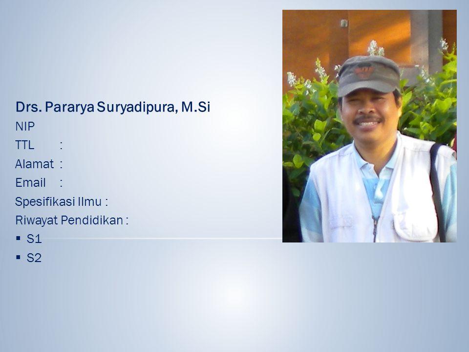 Drs. Pararya Suryadipura, M.Si