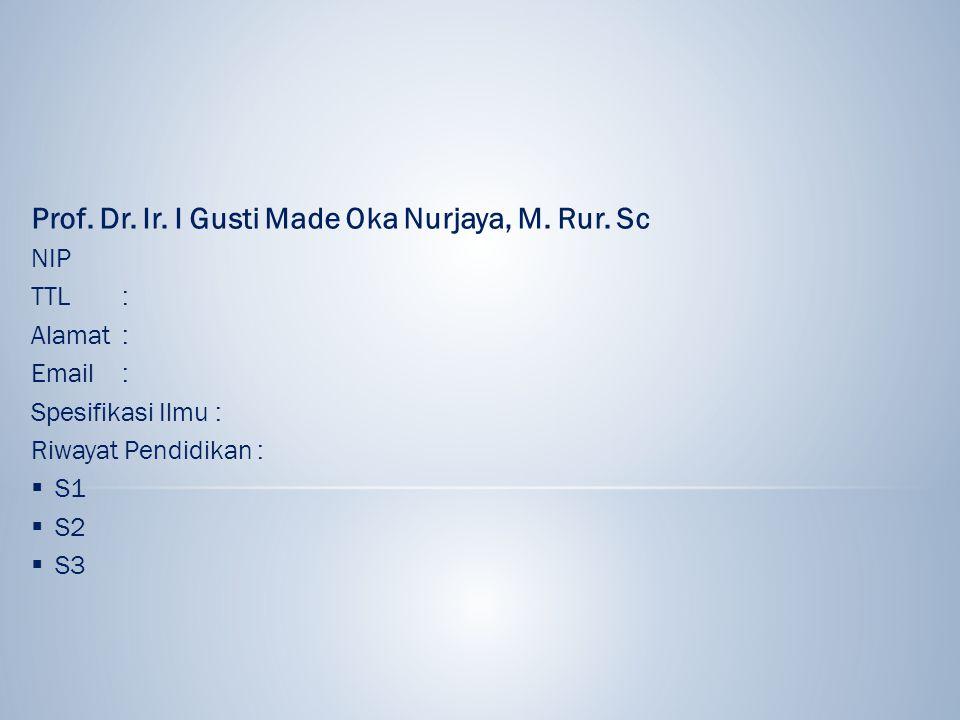 Prof. Dr. Ir. I Gusti Made Oka Nurjaya, M. Rur. Sc