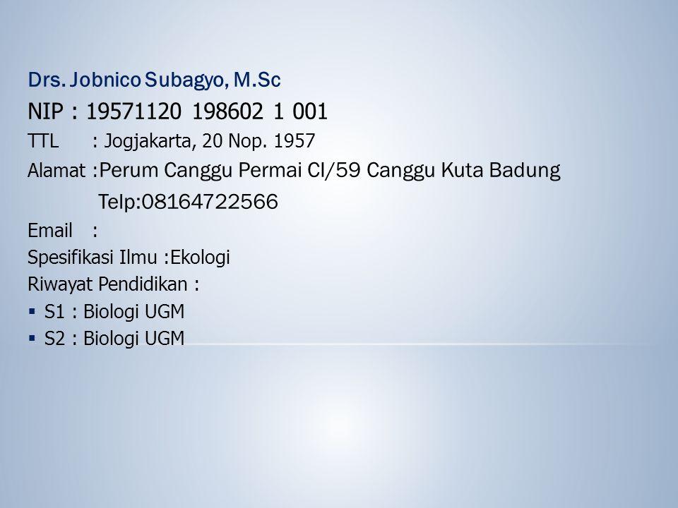 NIP : 19571120 198602 1 001 Drs. Jobnico Subagyo, M.Sc