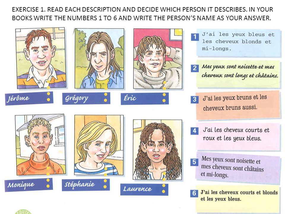 EXERCISE 1. READ EACH DESCRIPTION AND DECIDE WHICH PERSON IT DESCRIBES