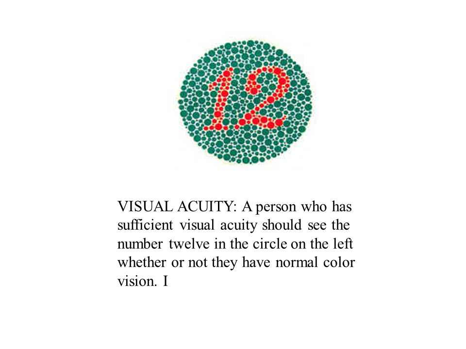 VISUAL ACUITY: A person who has sufficient visual acuity should see the number twelve in the circle on the left whether or not they have normal color vision.