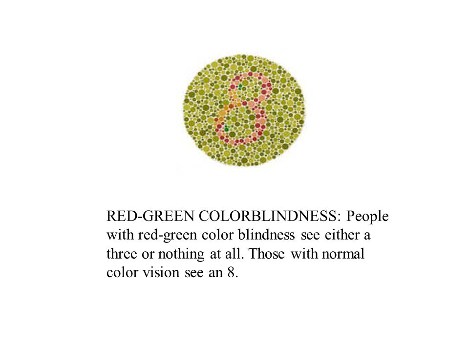 RED-GREEN COLORBLINDNESS: People with red-green color blindness see either a three or nothing at all.