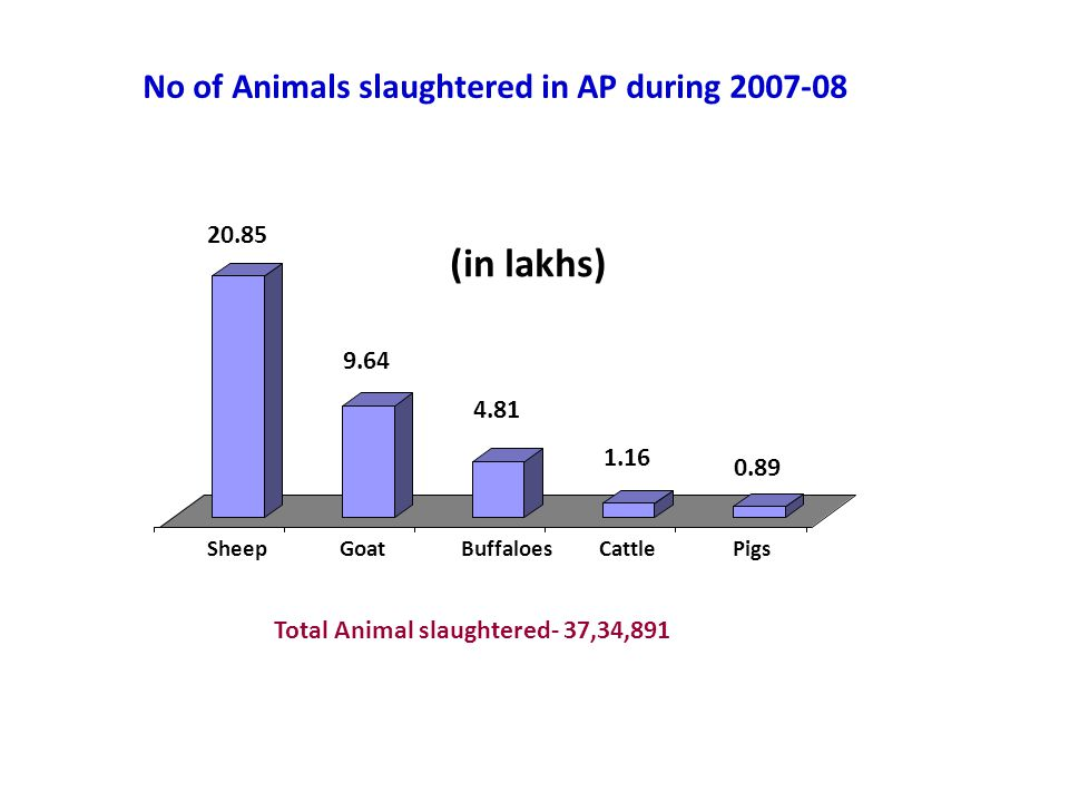 (in lakhs) No of Animals slaughtered in AP during 2007-08 20.85 9.64
