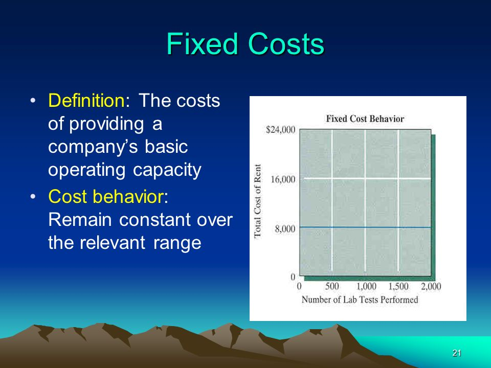 Fixed Costs Definition: The costs of providing a company's basic operating capacity.