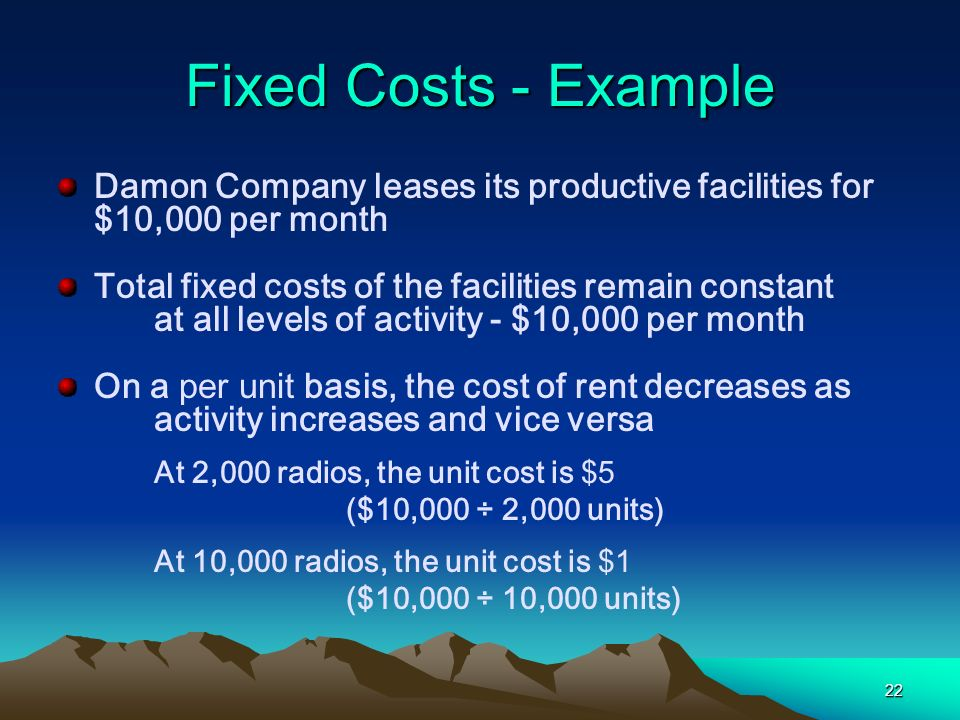 Fixed Costs - Example Damon Company leases its productive facilities for $10,000 per month.