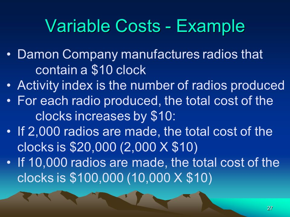 Variable Costs - Example
