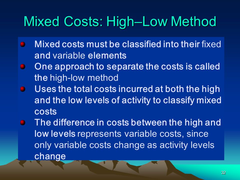 Mixed Costs: High–Low Method