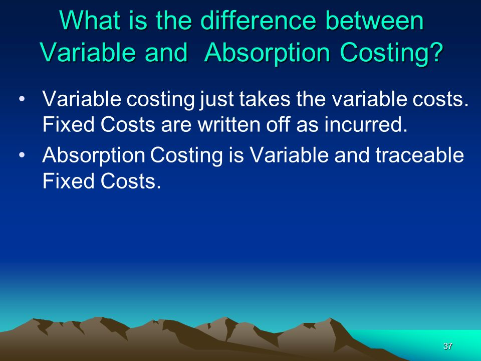 What is the difference between Variable and Absorption Costing