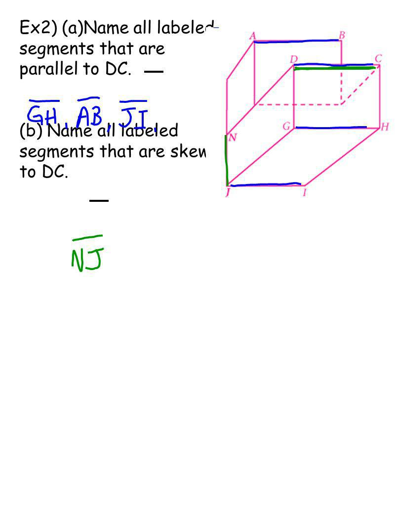Ex2) (a)Name all labeled segments that are parallel to DC.