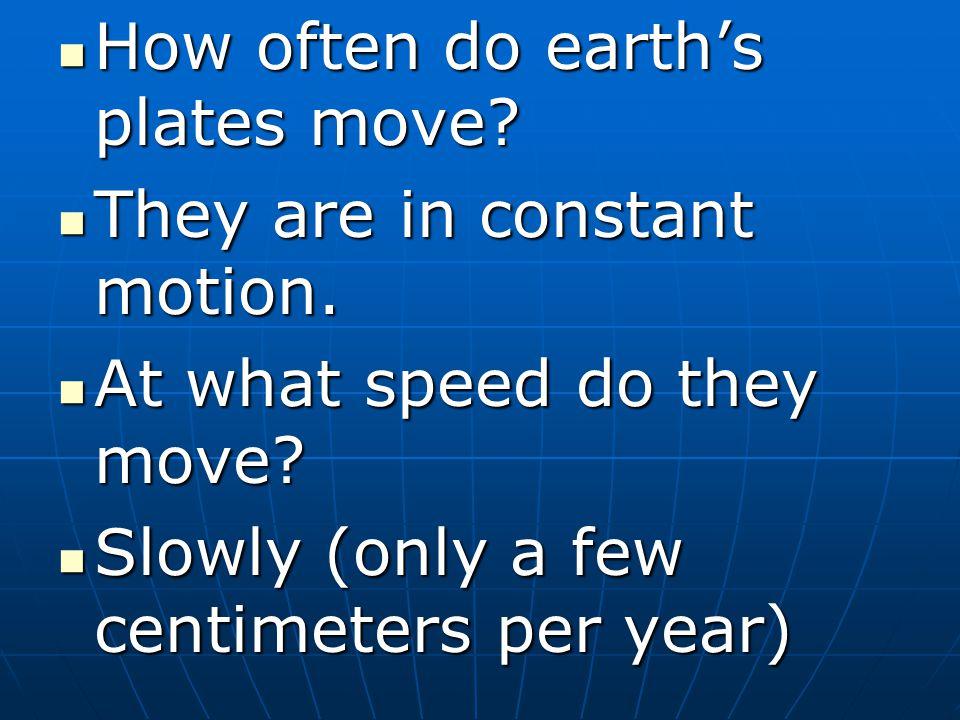 How often do earth's plates move