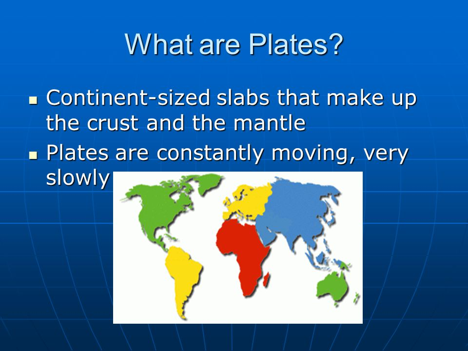 What are Plates. Continent-sized slabs that make up the crust and the mantle.