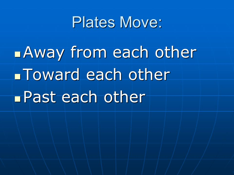 Plates Move: Away from each other Toward each other Past each other