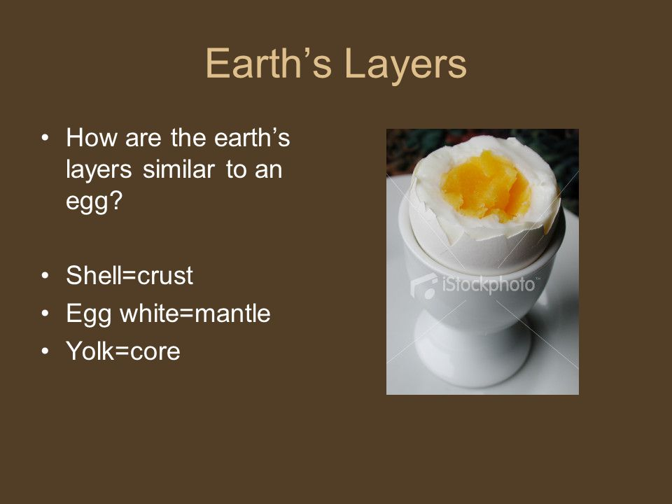 Earth's Layers How are the earth's layers similar to an egg