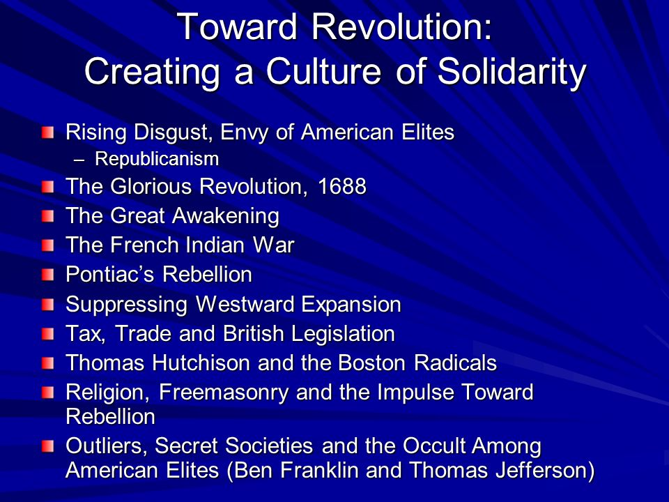 Toward Revolution: Creating a Culture of Solidarity