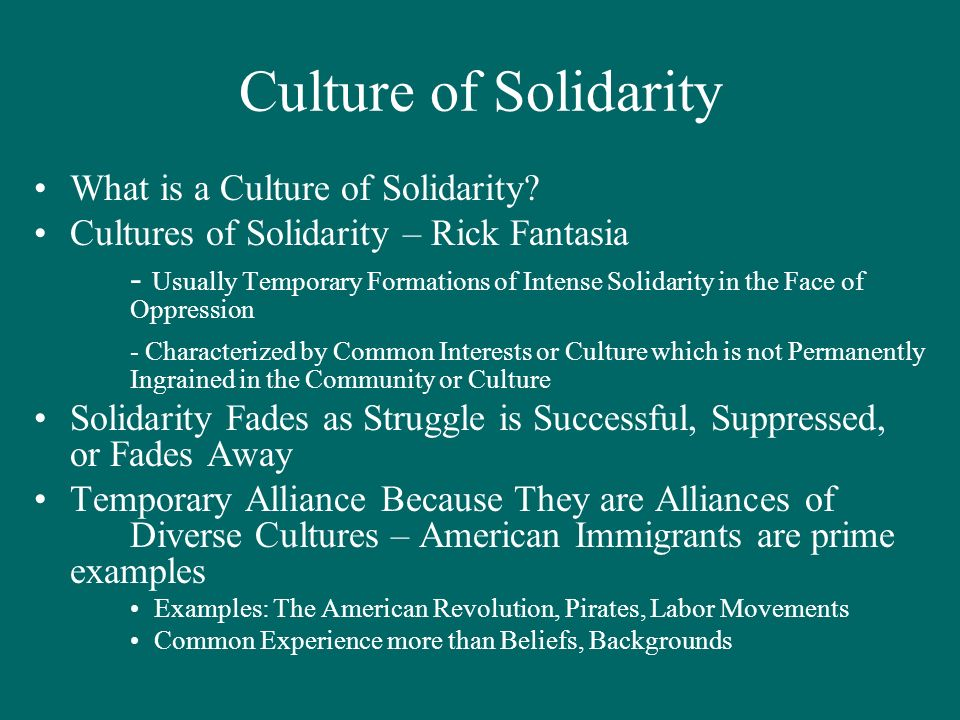 Culture of Solidarity What is a Culture of Solidarity