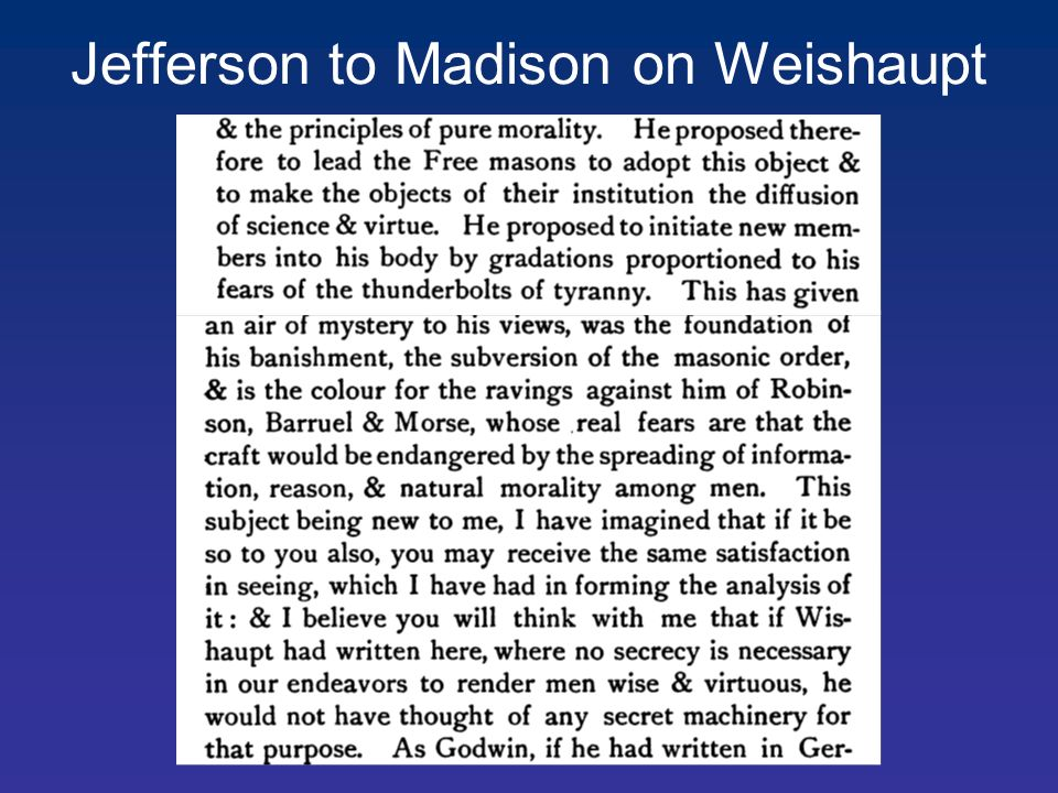 Jefferson to Madison on Weishaupt