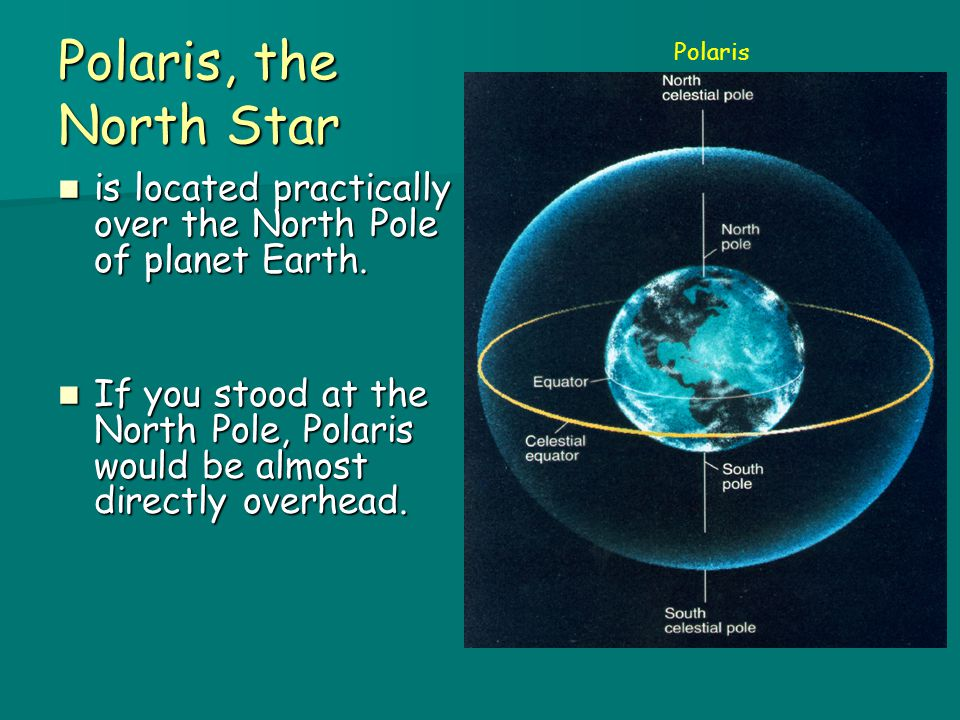 4/6/2017 Polaris, the North Star. Polaris. is located practically over the North Pole of planet Earth.
