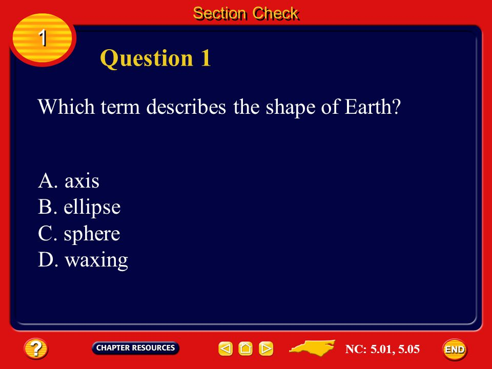 Question 1 1 Which term describes the shape of Earth A. axis