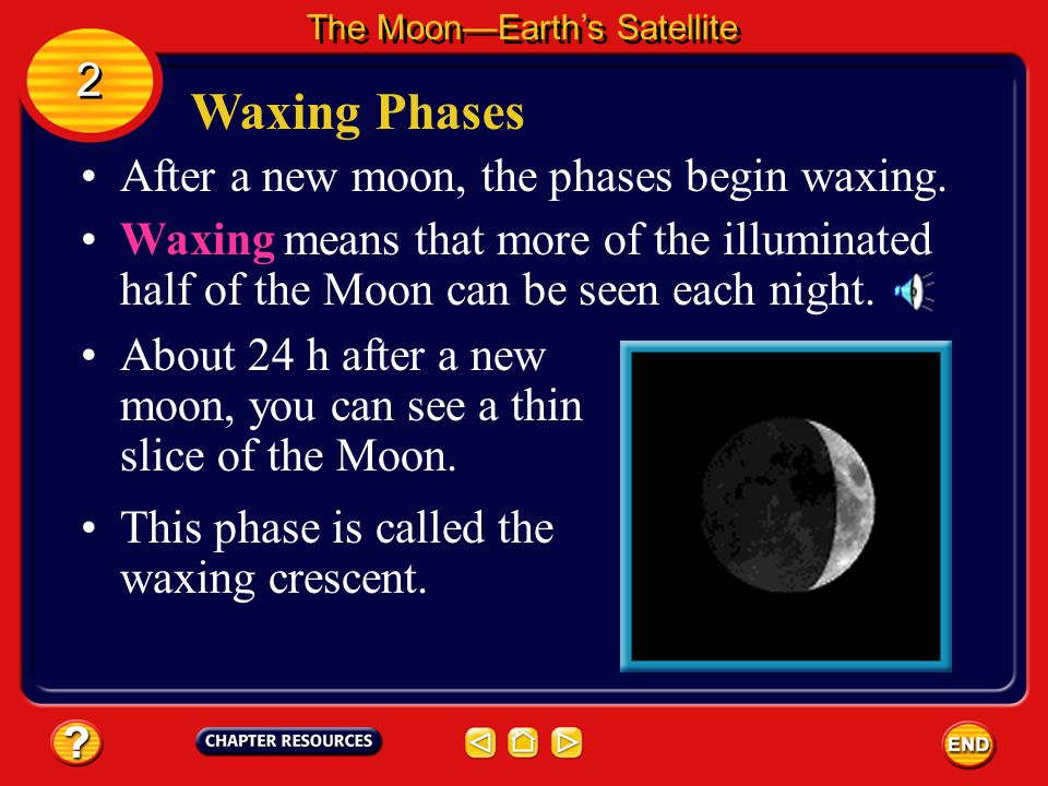 Waxing Phases 2 After a new moon, the phases begin waxing.