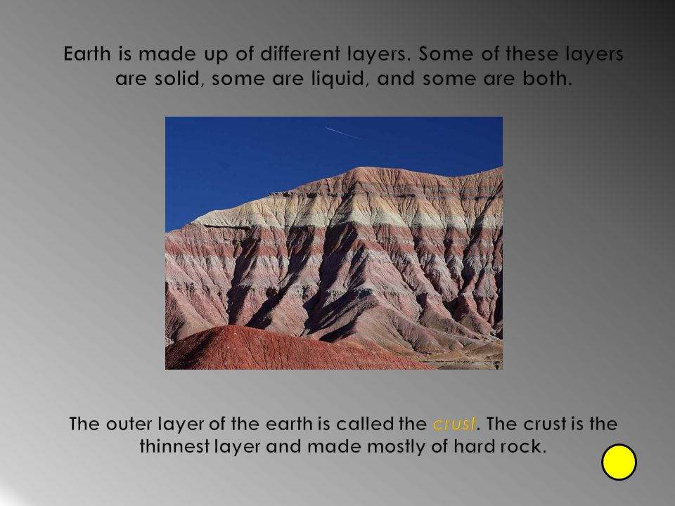 Earth is made up of different layers