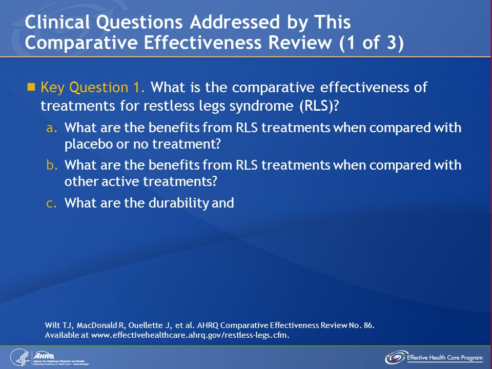 Clinical Questions Addressed by This Comparative Effectiveness Review (1 of 3)