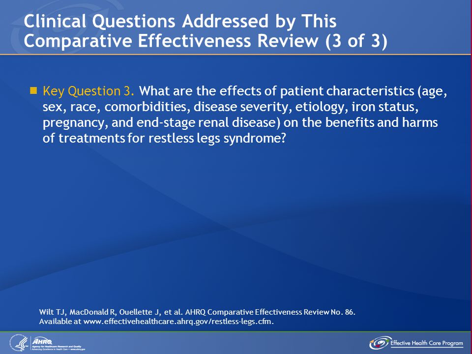 Clinical Questions Addressed by This Comparative Effectiveness Review (3 of 3)