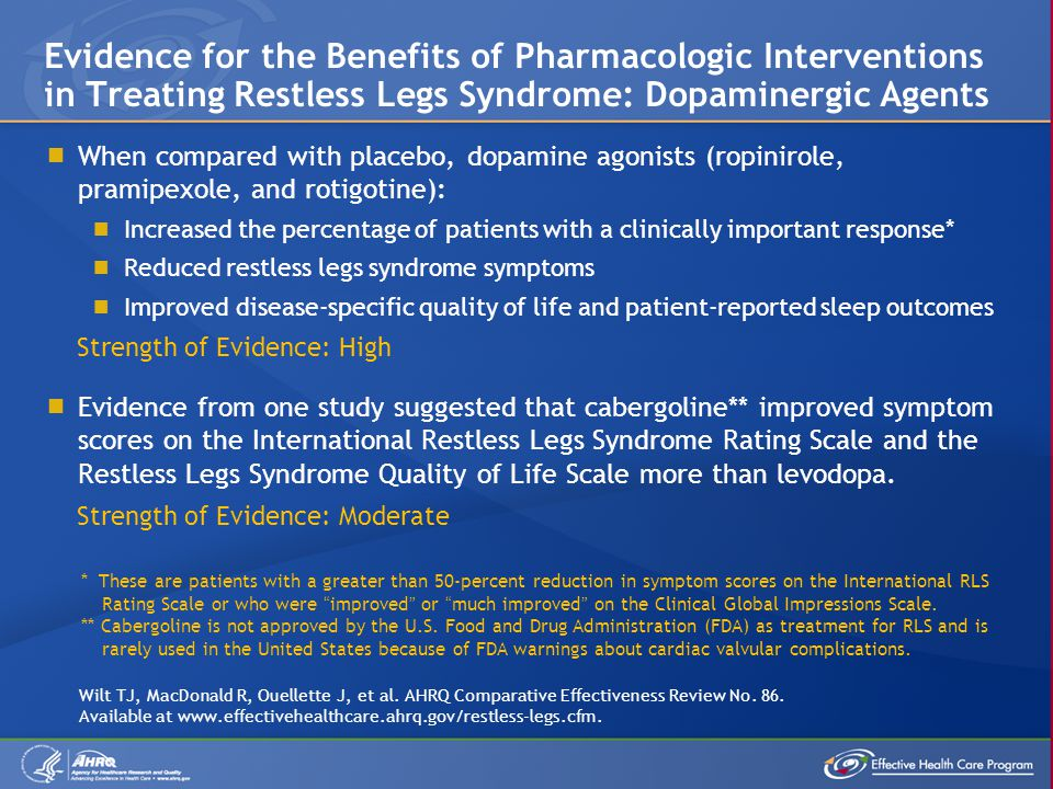 Evidence for the Benefits of Pharmacologic Interventions in Treating Restless Legs Syndrome: Dopaminergic Agents