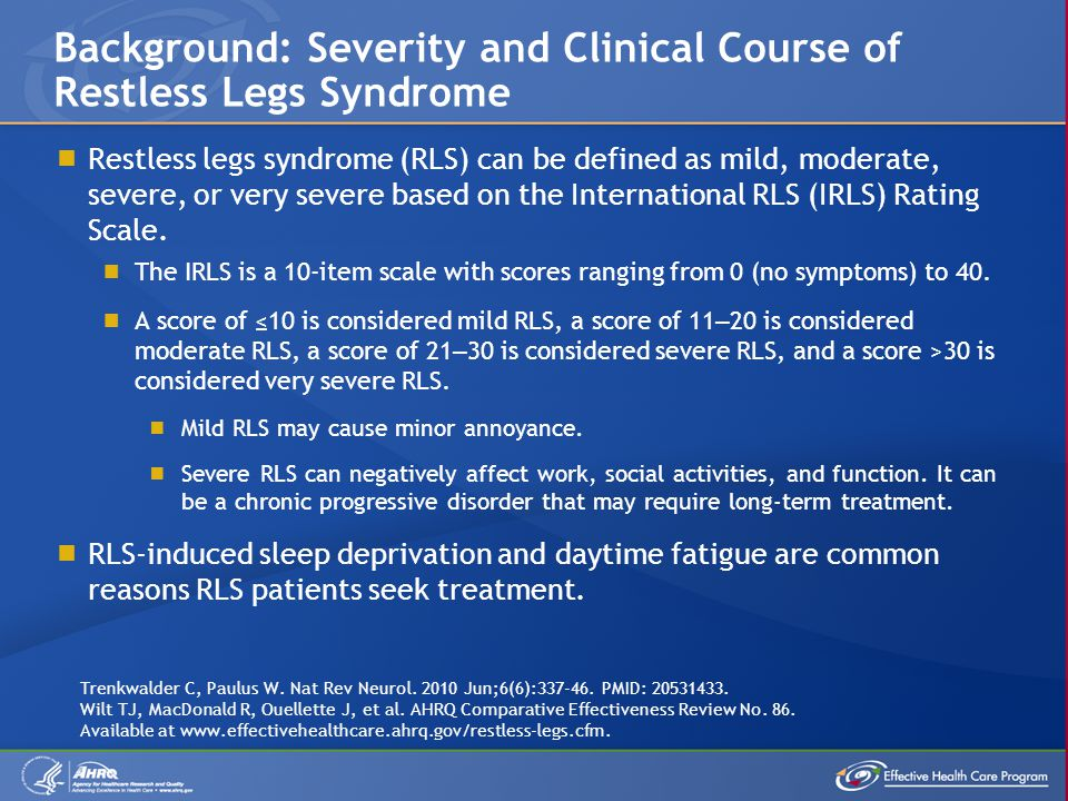 Background: Severity and Clinical Course of Restless Legs Syndrome