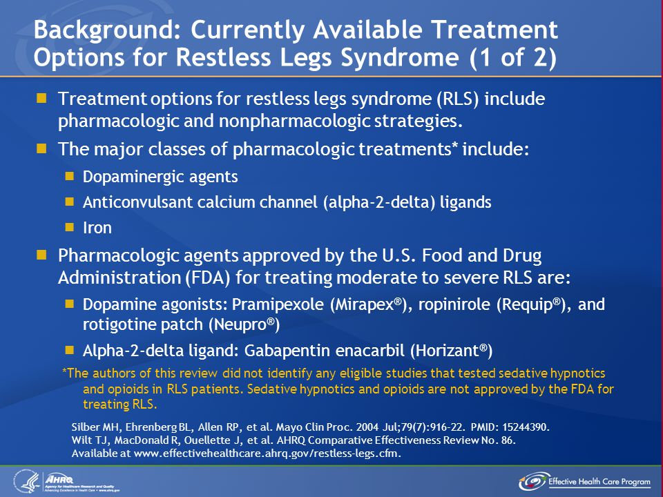 Background: Currently Available Treatment Options for Restless Legs Syndrome (1 of 2)