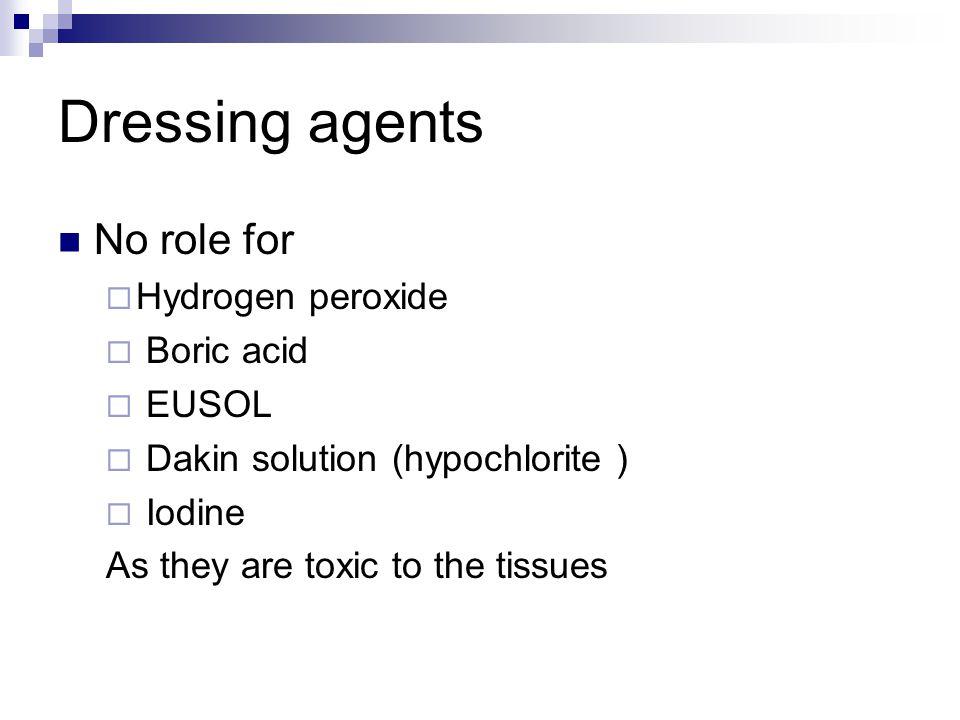Dressing agents No role for Hydrogen peroxide Boric acid EUSOL