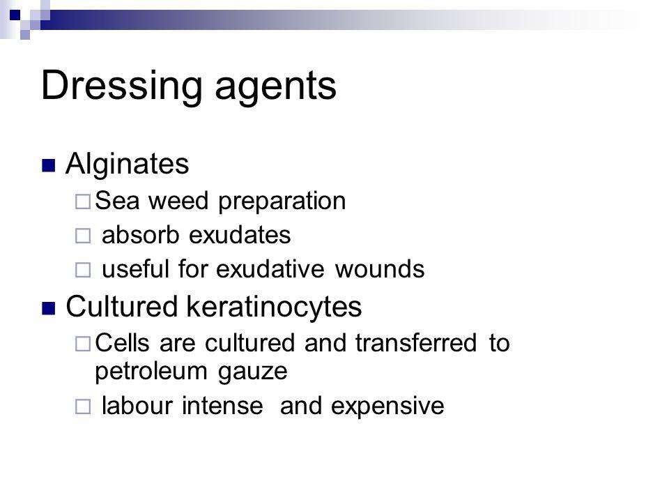 Dressing agents Alginates Cultured keratinocytes Sea weed preparation