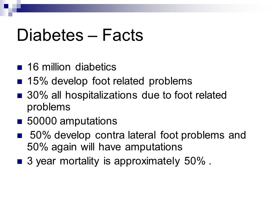 Diabetes – Facts 16 million diabetics