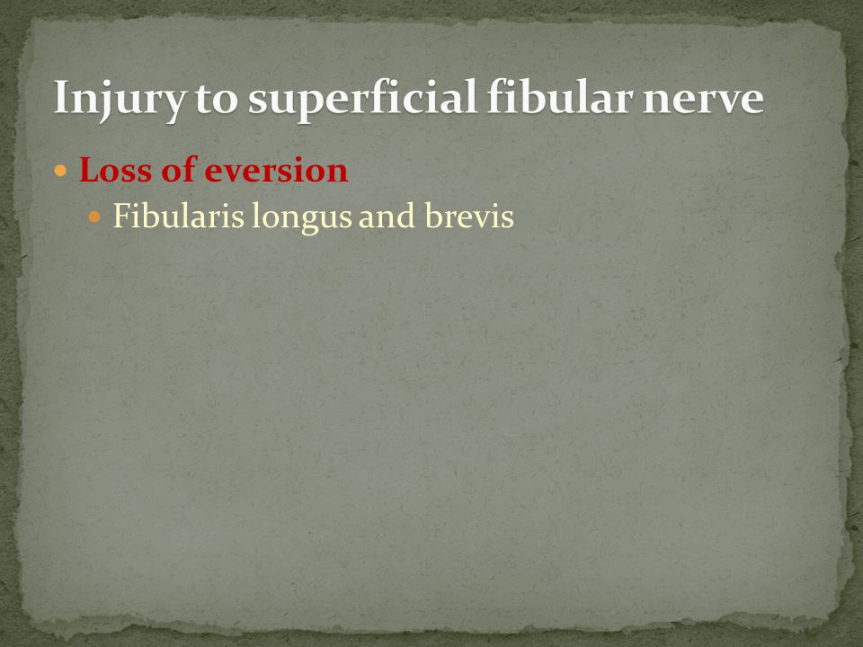 Injury to superficial fibular nerve