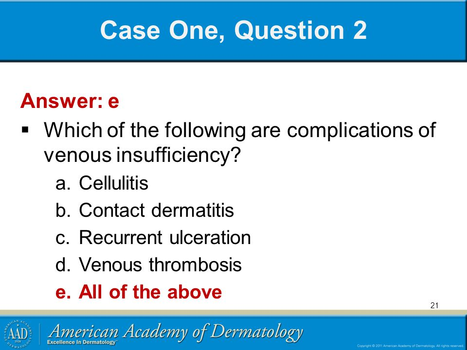 Case One, Question 2 Answer: e