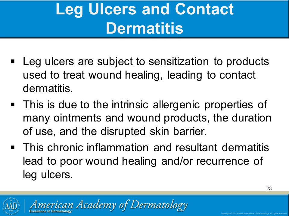 Leg Ulcers and Contact Dermatitis