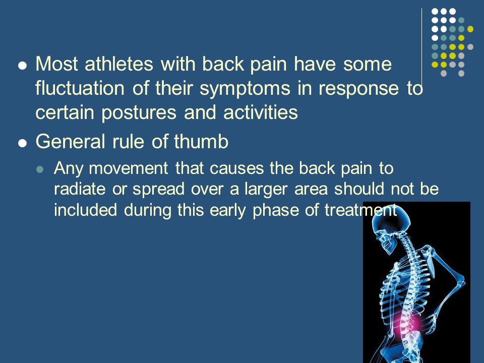 Most athletes with back pain have some fluctuation of their symptoms in response to certain postures and activities
