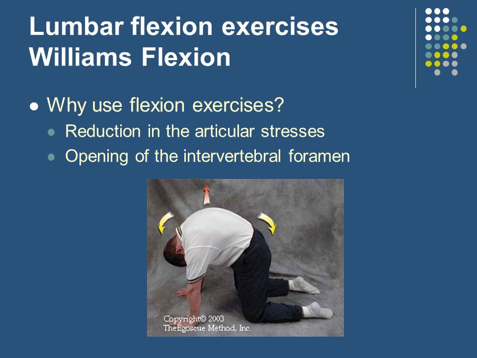 Lumbar flexion exercises Williams Flexion