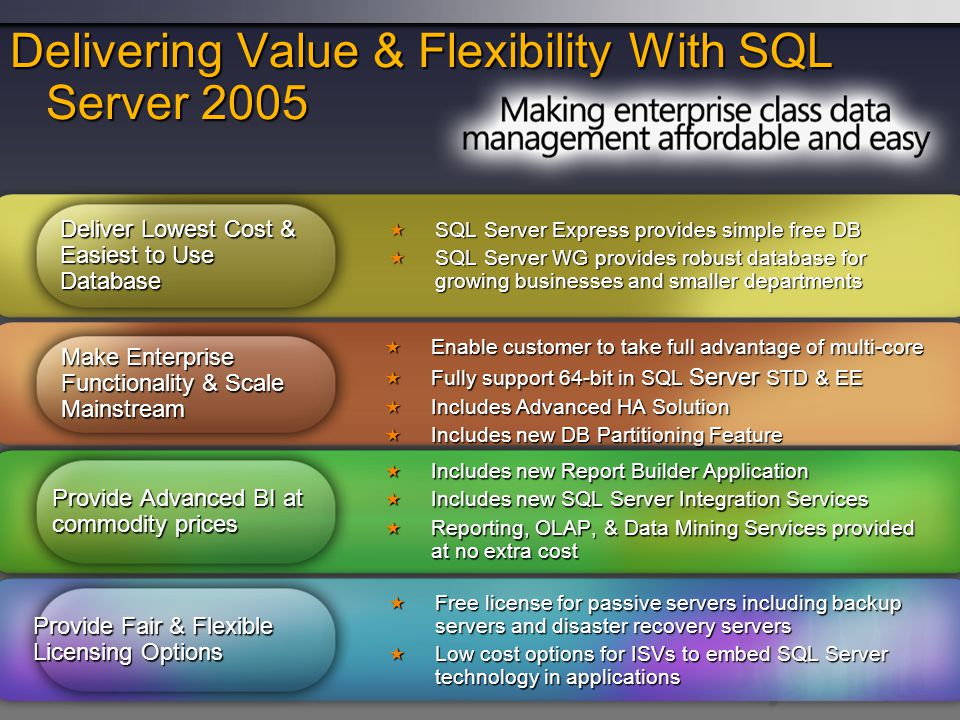 Delivering Value & Flexibility With SQL Server 2005
