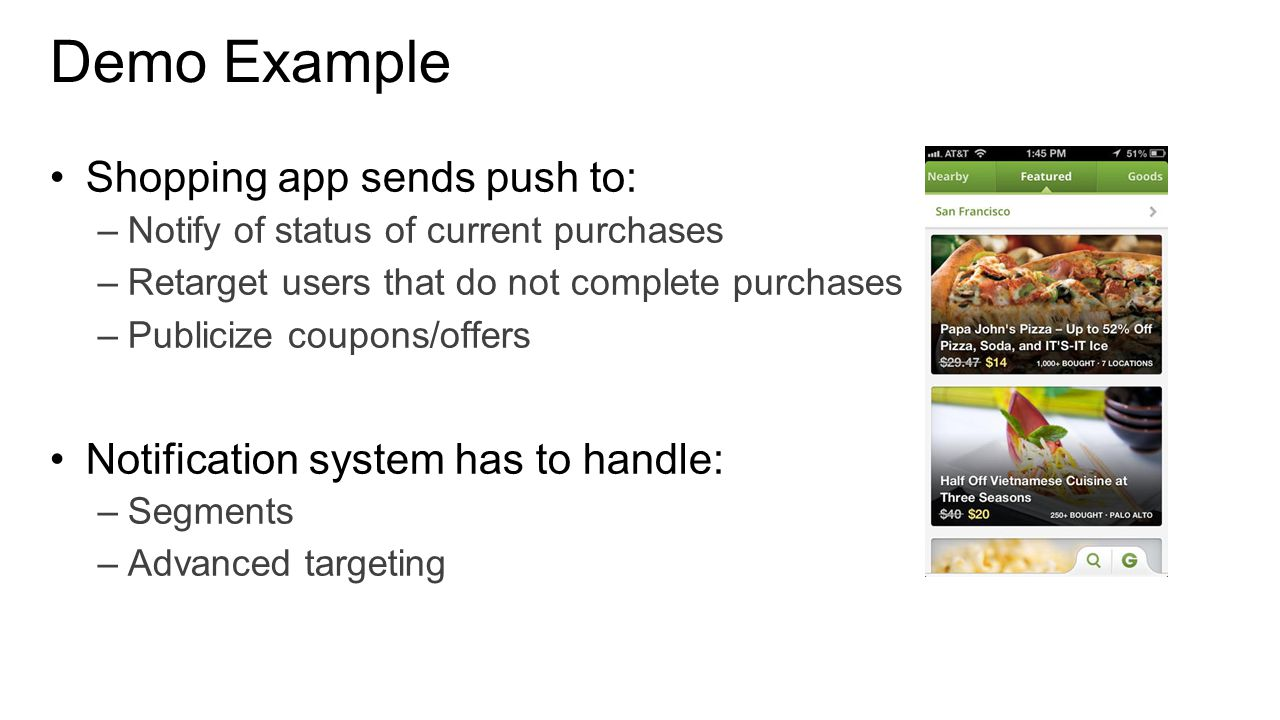 Demo Example Shopping app sends push to: