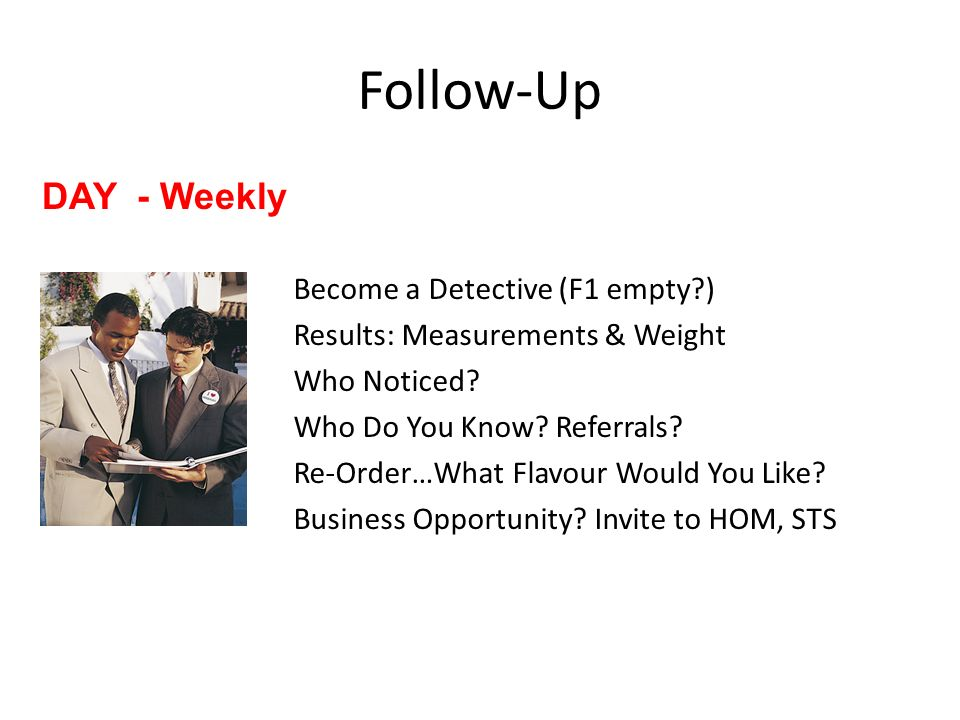 Follow-Up DAY - Weekly Become a Detective (F1 empty )