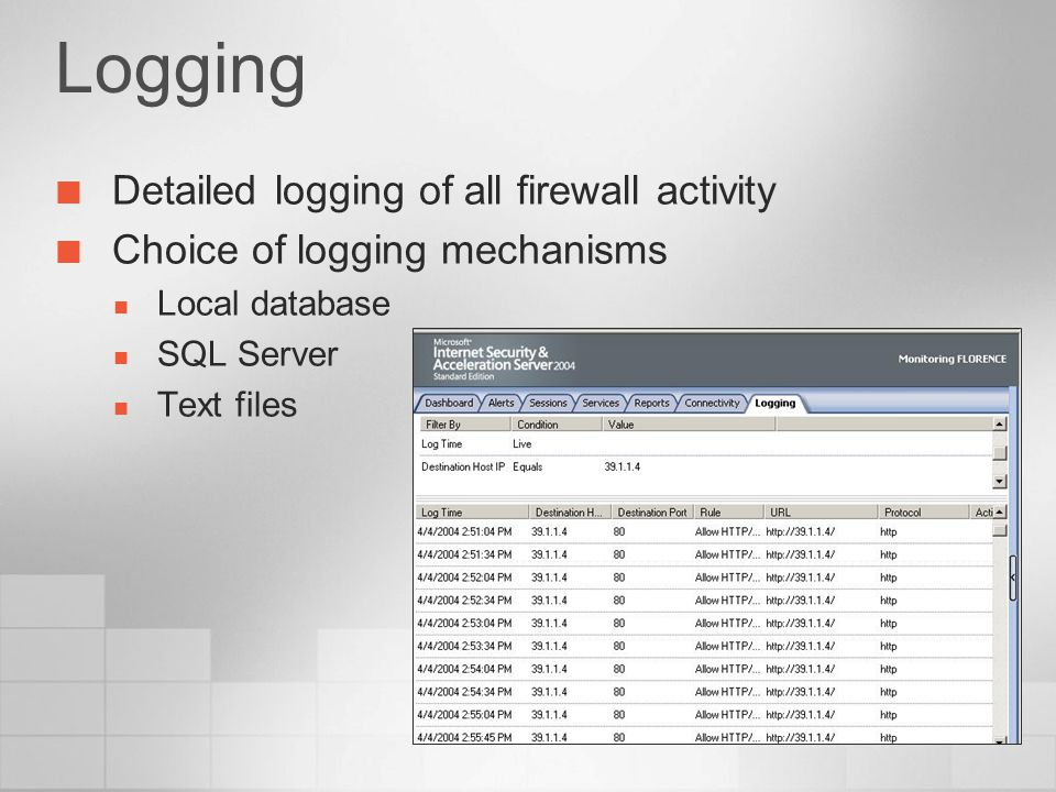 Logging Detailed logging of all firewall activity