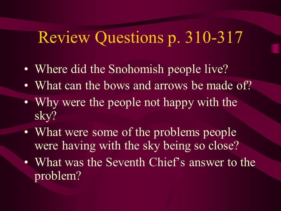 Review Questions p. 310-317 Where did the Snohomish people live