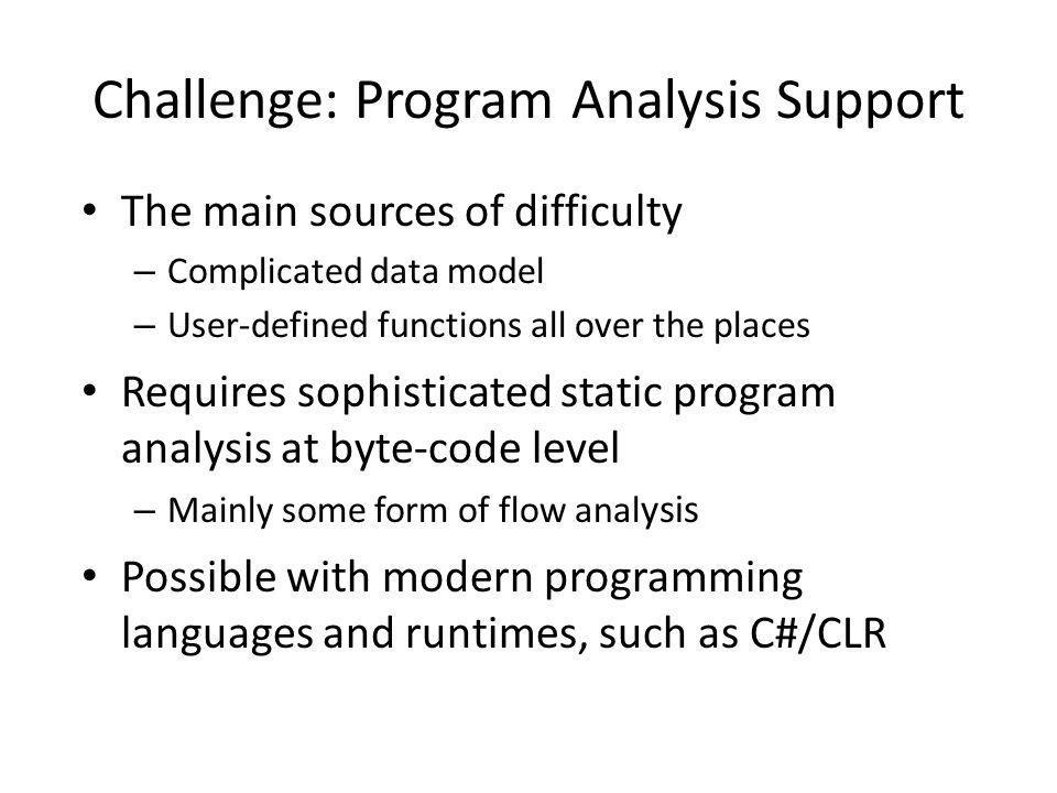 Challenge: Program Analysis Support