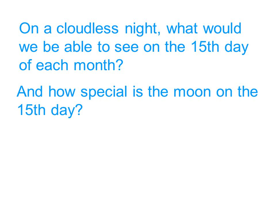 On a cloudless night, what would we be able to see on the 15th day of each month