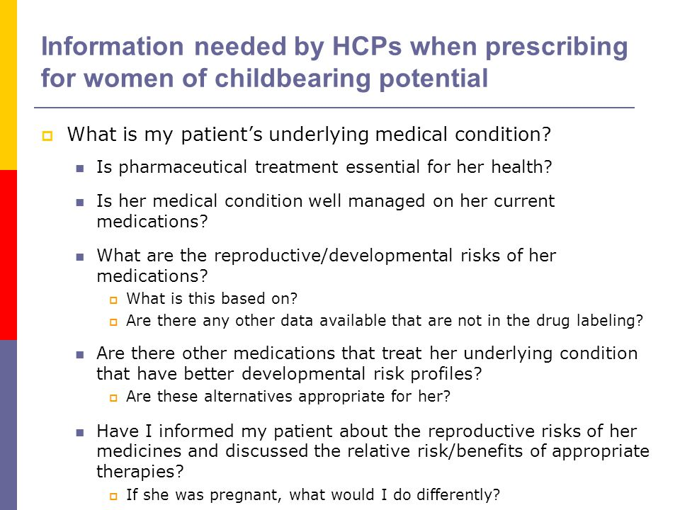 Information needed by HCPs when prescribing for women of childbearing potential