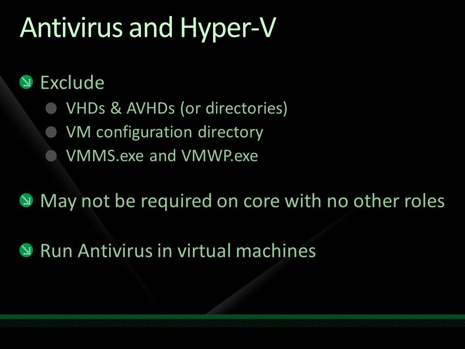 Antivirus and Hyper-V Exclude