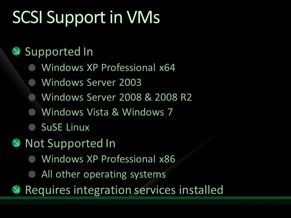 SCSI Support in VMs Supported In Not Supported In