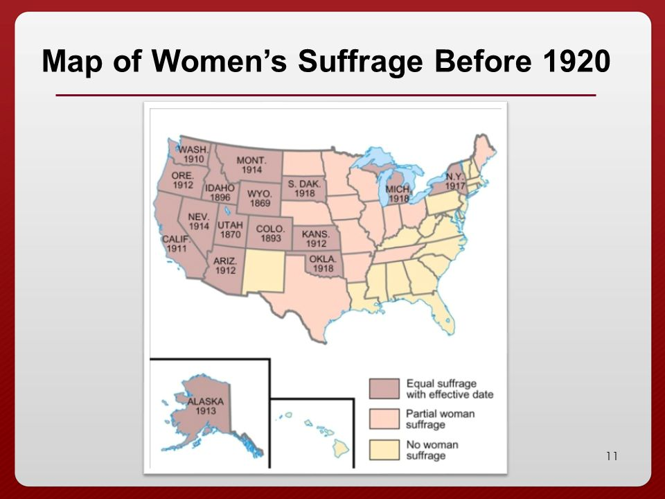 Map of Women's Suffrage Before 1920