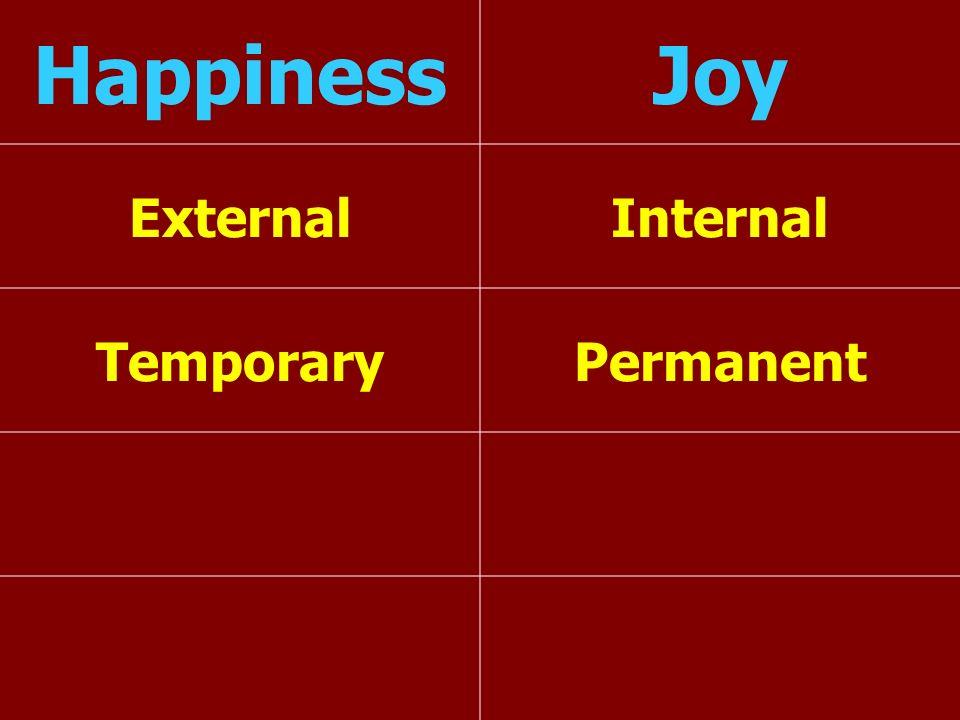 Happiness Joy External Internal Temporary Permanent
